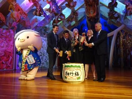 Kagamiwari - Sake barrel break for opening the festival